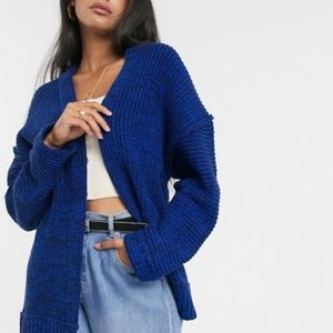 Free People   High Hope's Cardi Sweater Blue Knit